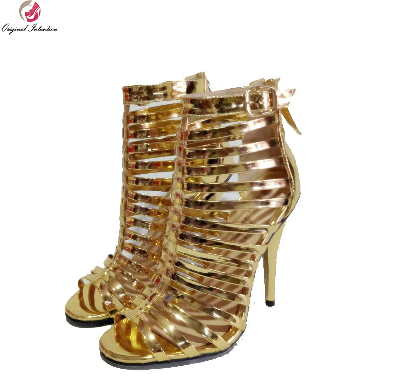 90a6fde2e446 Original Absicht Super Stilvolle Frauen Sandalen Peep Toe Dünne Heels  Sandalen Schöne Gold Schuhe Frau Plus