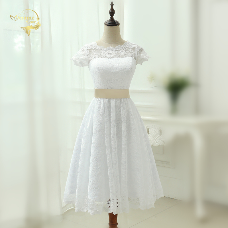 Klasik Lihat melalui Vestido De Noiva A Line Robe De Mariage Teh Panjang Renda Gaun Pengantin Pendek 2019 Vintage Bridal Gown Y0121