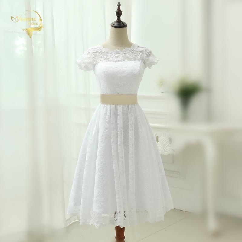 Classical See through Vestido De Noiva A Line Robe De Mariage Tea Length Lace Short Wedding Dress 2019 Vintage Bridal Gown Y0121