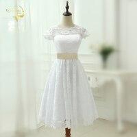 Classical See Through Vestidos De Noiva A Line Robe De Mariage Tea Length Lace Short Wedding