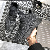 Fly Woven Breathable Fashion Black Suede Running Lightweight F;ywire Sport Shoes Men Running