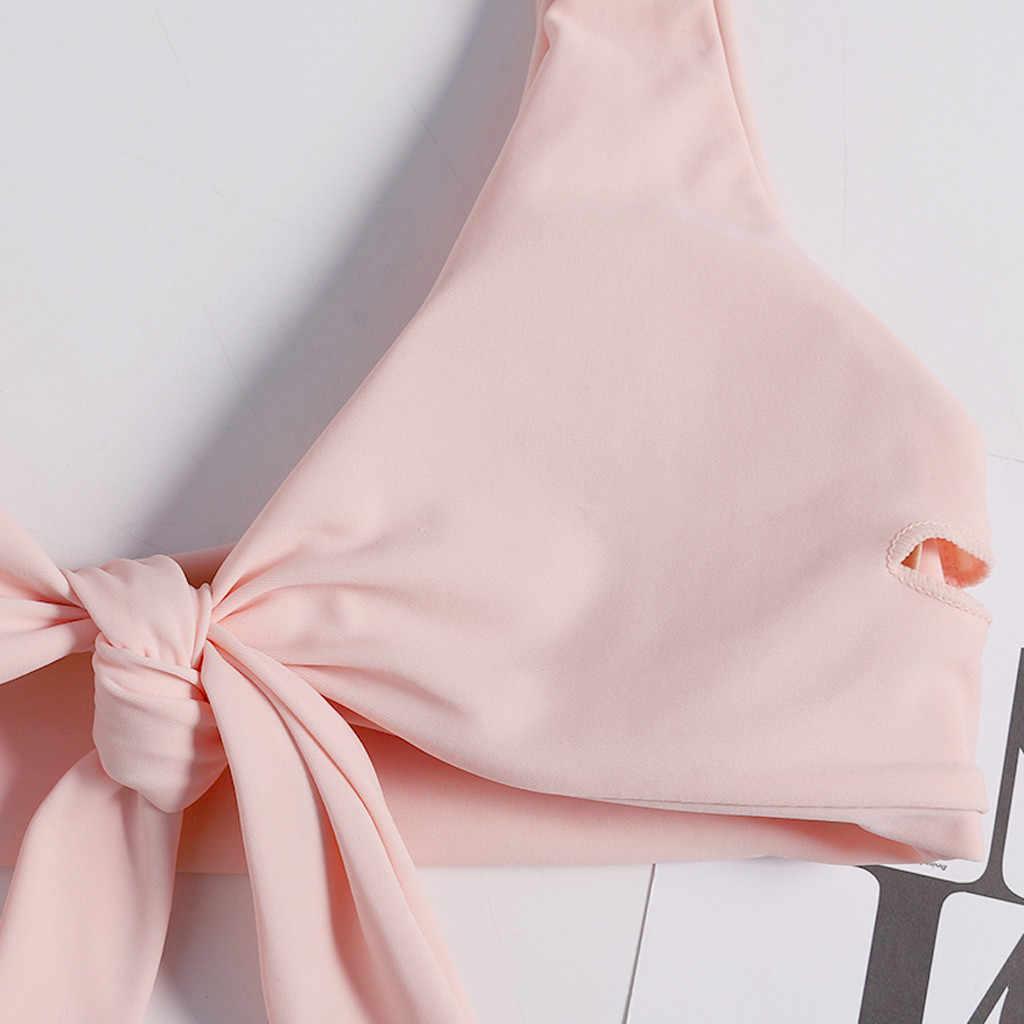 Seksi Dasi Simpul Depan Bikini Wanita Cetak Flora Baju Renang Bikini Set Pakaian Renang Perban Thong Pakaian 2019 Baju Renang Tankini