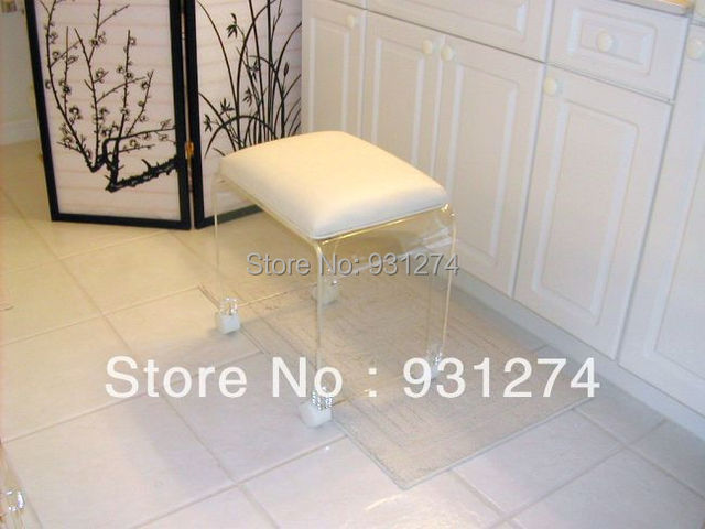 Charmant ONE LUX Elegant Acrylic Vanity Stool With Casters,Rolling Lucite Perspex  Leisure Bench