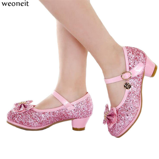 292ec3b310 US $22.01 42% OFF Weoneit 2019 New Children Fashion Sequined High Heels  Shoes Girls Princess Party Performance Single Shoes for Kids Size 28 38-in  ...