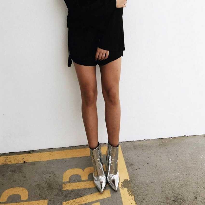 2019 Moda Kadın Botları Kış Sonbahar Yüksek Topuklu Ayakkabı Kadın Altın Gümüş Ayakkabı Kadın Kürk Sıcak Patent Deri yarım çizmeler