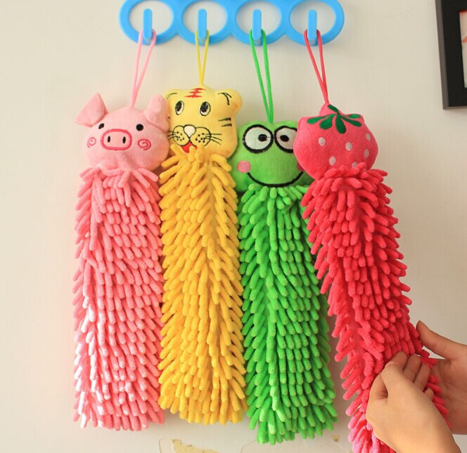 1PC Kids Baby Hand Towel Soft Cartoon Chenille Hanging Wipe Bathing Towel Kitchen Bathroom Cleaning Cloth Easy Dry OK 0084