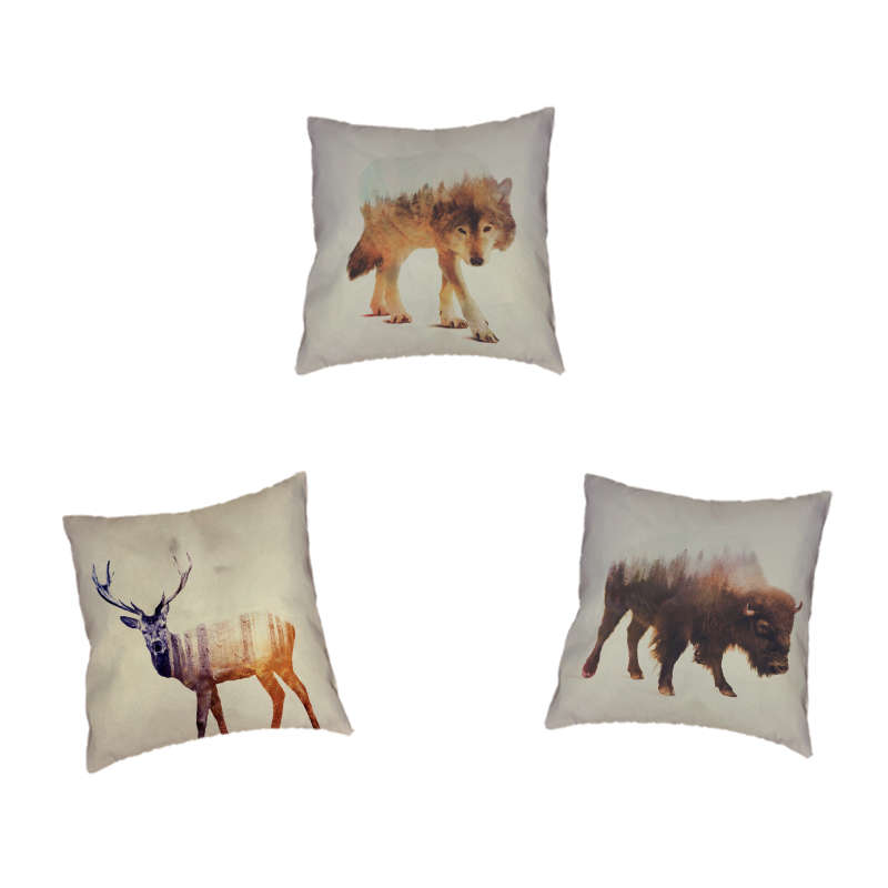 Square Annimol Longhorn Deer Brown Bear Pillow 17x17inches Polyester Concord Forest Yellow Geometric Decorations Cushion Covers Home & Garden