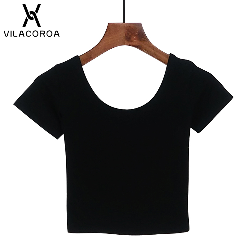 Vilacoroa Best Sell U Neck Sexy Crop Top Ladies Short Sleeve T Shirt Tee Short T-shirt Basic Stretch T-shirts #3
