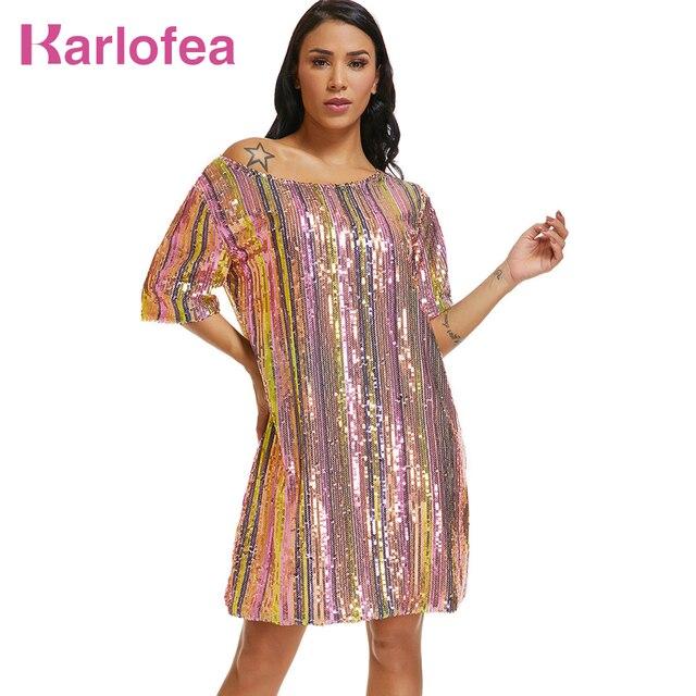 Karlofea Women New Colorful Stripe Sequin Dress Fashion Casual Club Night  Party Vestidos XXL Short Sleeve 382edb11f546