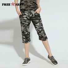 484c7091530 Free Army Military Camouflage Knee Length Mid Waist Women s Casual Multi- Pocket