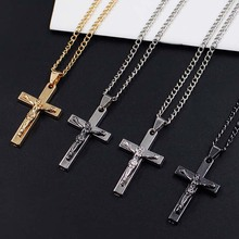 Men Chain Christian Jewelry Gifts Vintage Cross Crucifix Jesus Piece Pendant Necklaces  Stainless Steel xlct036