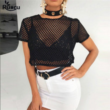 Ruoru Short Sleeve Women Fishnet Crop Tops See Through T-shirt Sexy Summer Hollow Out Tee Shirt Black Top Femme