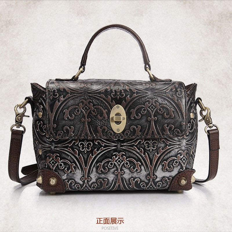 100% Genuine Leather Women Luxury Brand Shoulder Bag Female Vintage Embossed Flower Handbag Ladies Casual Bags with Lock Rivet