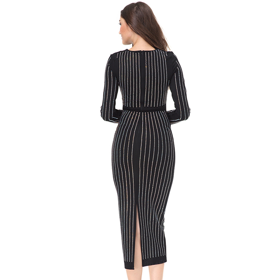 Seamyla 2019 Luxury Beaded Strips Long Dress Women Sexy Black Runway - Women's Clothing - Photo 5