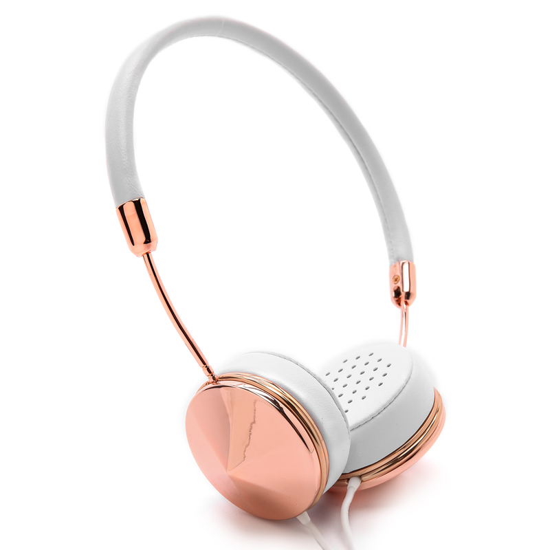 White Rose Gold Headband On Ear Headphones with Microphone Women Folding Stereo Headset with Storage Case