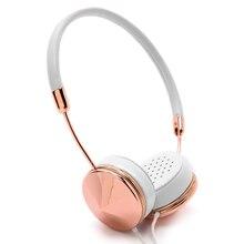 Blanco de Oro Rosa Mujeres Diadema Auriculares En-Oído con Micrófono Estéreo Plegable Auriculares con Estuche de Almacenamiento para Auriculares de la Música