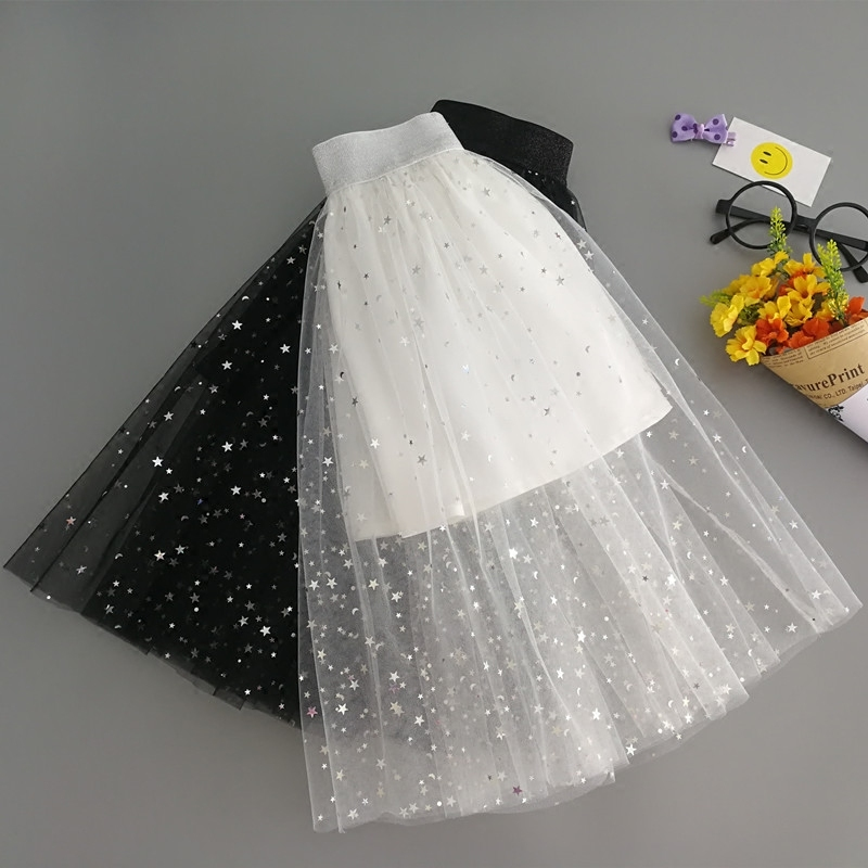 Children Summer Spring 2-13Y Girls skirts Star Pattern Printed Knee-length Cute Children's Mesh skirt Child Princess Long Skirt