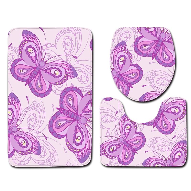 3pcs Bathroom Mat Sets Anti Slip Purple Pretty Butterfly Pattern Toilet Mat and Floor Mat Sets