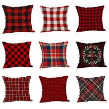 Christmas Plaid Pillow Case Linen Cotton Sofa Waist Throw Cushion Cover Red Color Dining Pillowcases #RN Decoration For Hom(China)