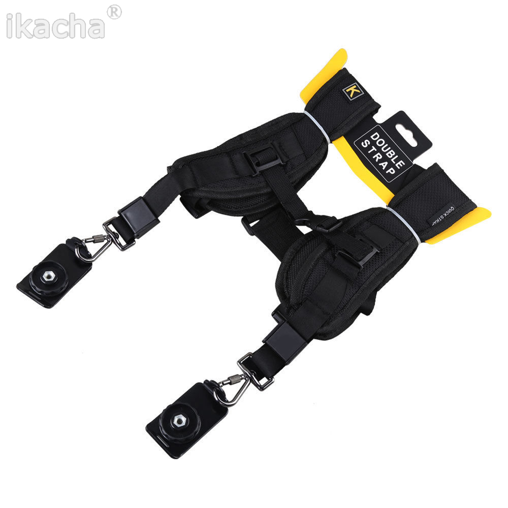 Black Double Dual Camera Shoulder Strap Quick Rapid Sling Camera Belt Adjustment for Canon Nikon Sony Camera Digital DSLR Strap