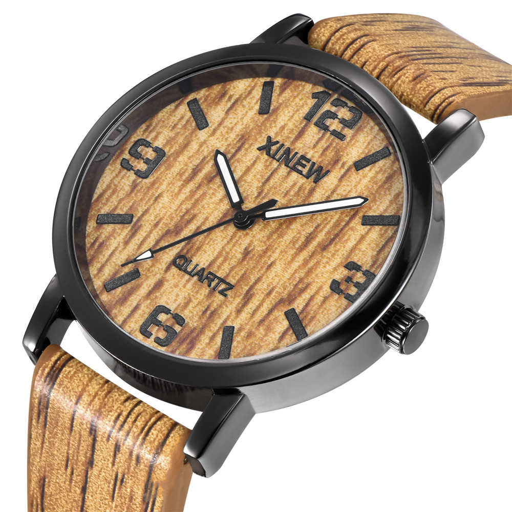 Women and Men Wood Leather Band Analog Quartz Vogue Wrist Watches 24