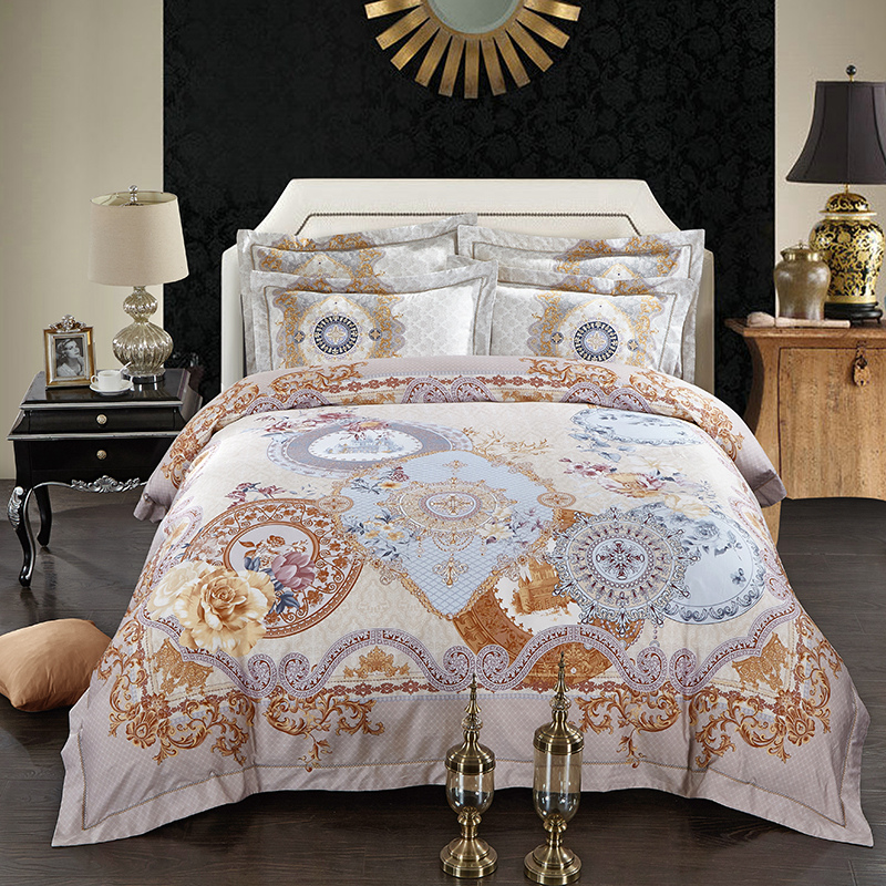 charming parure de lit de marque 10 marque de luxe jacquard linge de lit cercle mandala fleur. Black Bedroom Furniture Sets. Home Design Ideas