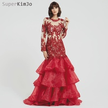 SuperKimJo 2019 New Arrival Formal Dress Long Sleeve Lace Applique Evening Dresses Elegant Tiered Burgundy Gown