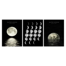 Watercolor Nordic Style  Wall Art Beautiful Moon Night Scenery
