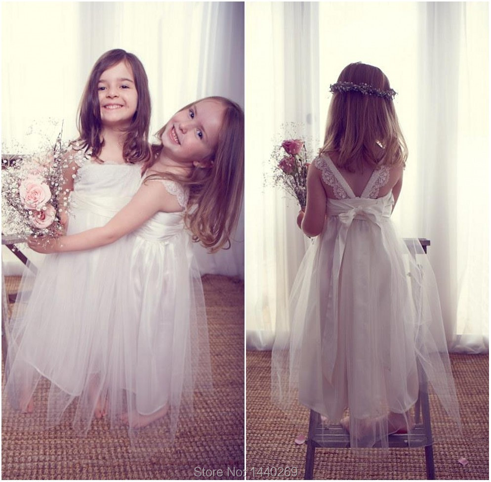 Pretty A Line   Flower     Girl     Dresses   Bowed Sashes Lace Tulle Little   Girls   Floor Length   Dress   for Wedding Party