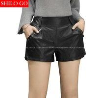 SHILO GO Fashion Street Women Silver Metal Rivet Pocket Casual Punk Shorts Leather sheepskin Genuine Ladies Concise Mini Shorts