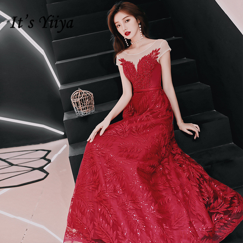 Evening Dresses Wine Red Sequins Beading Fashion Aplliqeus Party Gown Blue Sleeveless A line Long O neck Formal Prom Dress E073 in Evening Dresses from Weddings Events