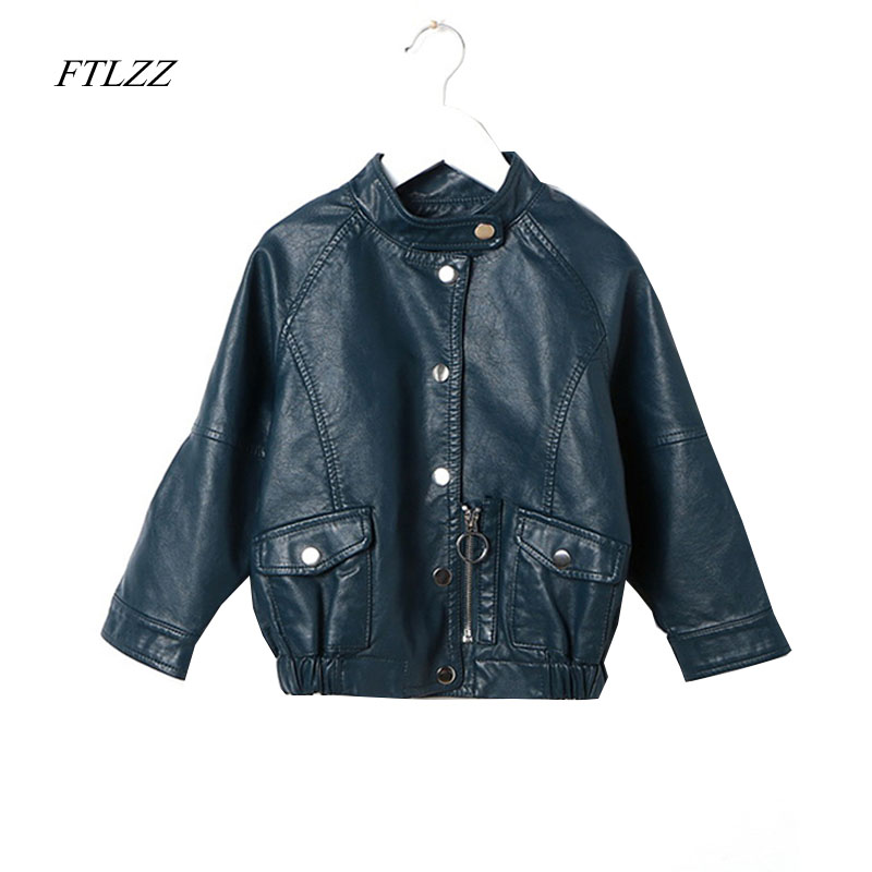 FTLZZ 2018 New Spring Kids Jacket Pu Leather Girls Jackets Coats Clothes Children Outwear For Baby Girls Boys Clothing 2 14t baby boy clothes boys jacket leather spring letter boys outwear for children kids coats for boys baseball sweatershirt