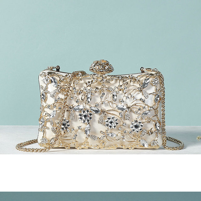 13edf8c4ea BYMB Bridal Metal Clutch Floral Bag Women Crystal Gold Evening Bag Wedding  Party Handbags Purse Lady Diamond Rhinestone Clutches