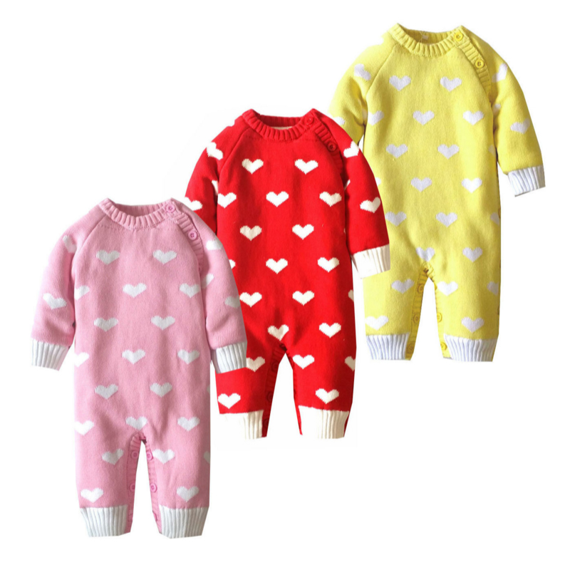 Baby Knitted Sweater Romper 0-18 Months Heart Design Thick Cotton Long Sleeve Autumn Winter Infant Boy Girl Baby ClothingBaby Knitted Sweater Romper 0-18 Months Heart Design Thick Cotton Long Sleeve Autumn Winter Infant Boy Girl Baby Clothing
