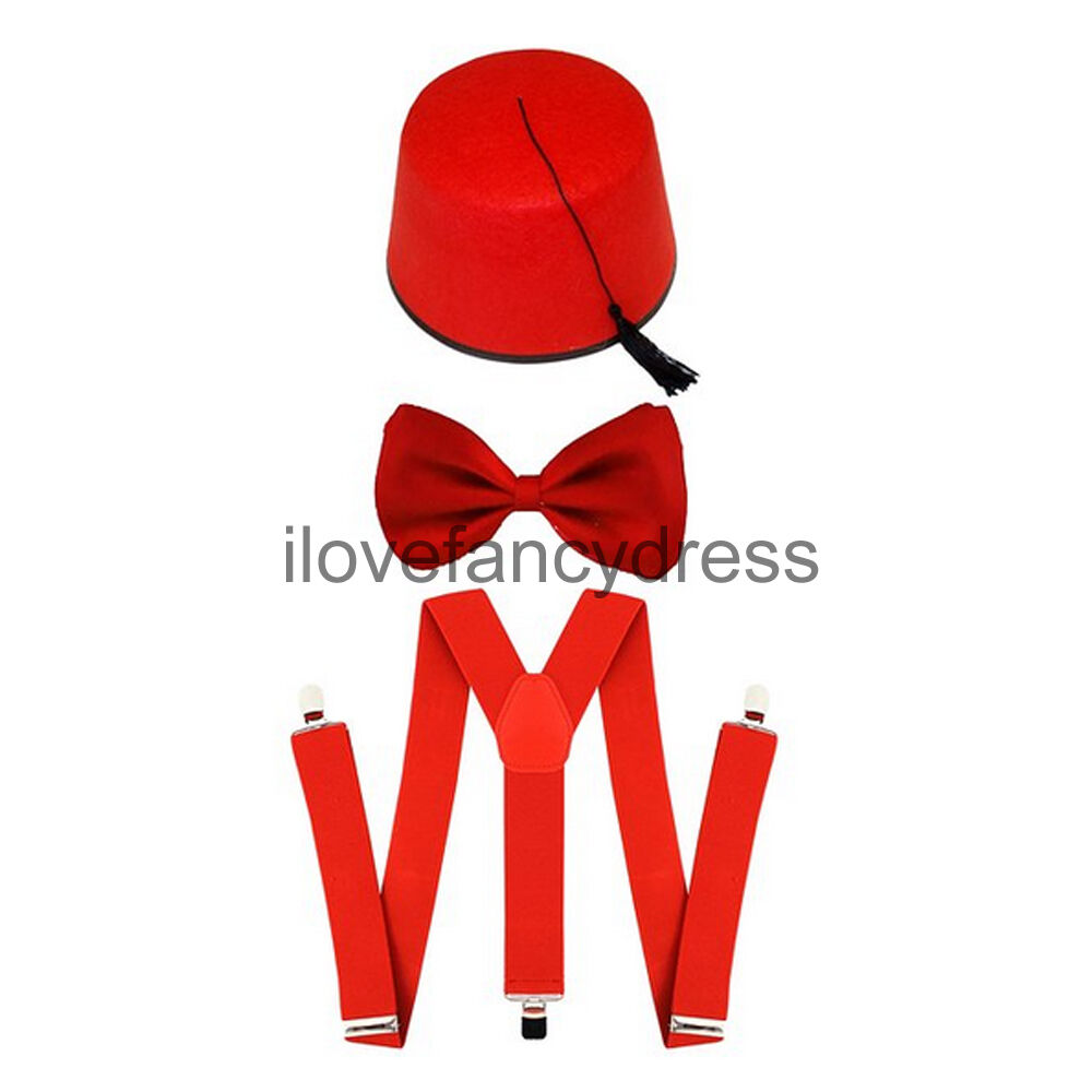 RED FEZ HAT BOW TIE AND BRACES TIME TRAVELLER FANCY DRESS COSTUME TV CHARACTER