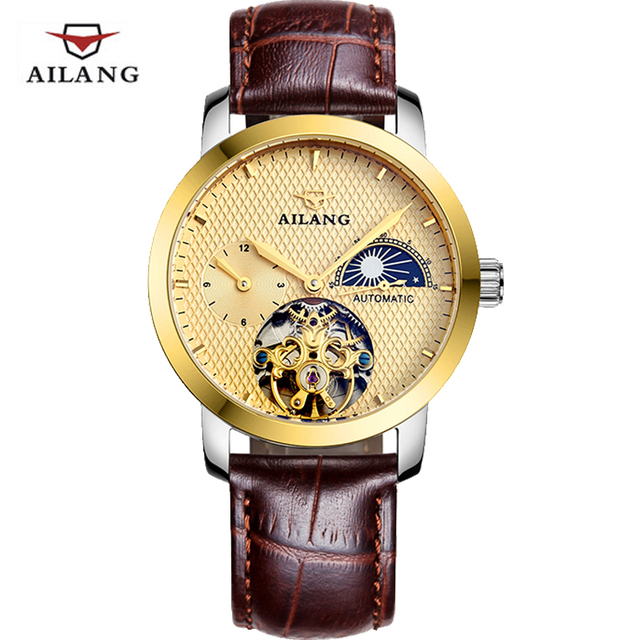 aliexpress com buy new mens watches moon phase mechanical watch new mens watches moon phase mechanical watch dive 100m business leather wristwatch top brand luxury ailang