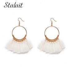 Trendy Geometric Round Tassel Earrings For Female Carved Gold Color Ribbon Dangle