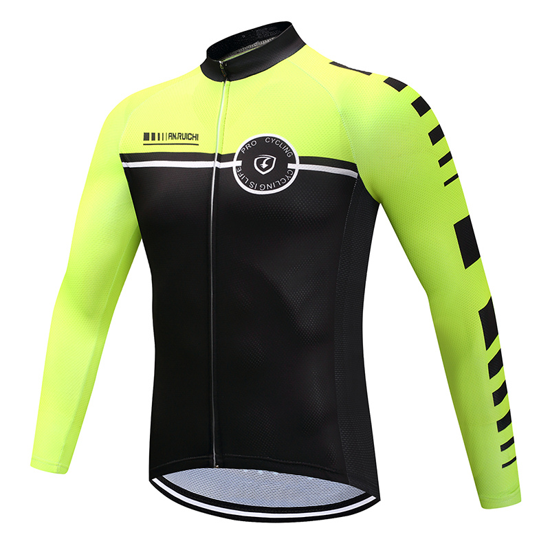 Men Full Sleeve Cycling <font><b>Jersey</b></font> Contrast Fluorescent Color Anti-sweat Quick Dry <font><b>Bike</b></font> Riding <font><b>Jerseys</b></font> <font><b>Customized</b></font>/Wholesale Service image