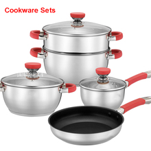 General Family Stainless Steel Pots & Pans Household items set pots silicone pans anti-hot set high quality kitchen utensils цена
