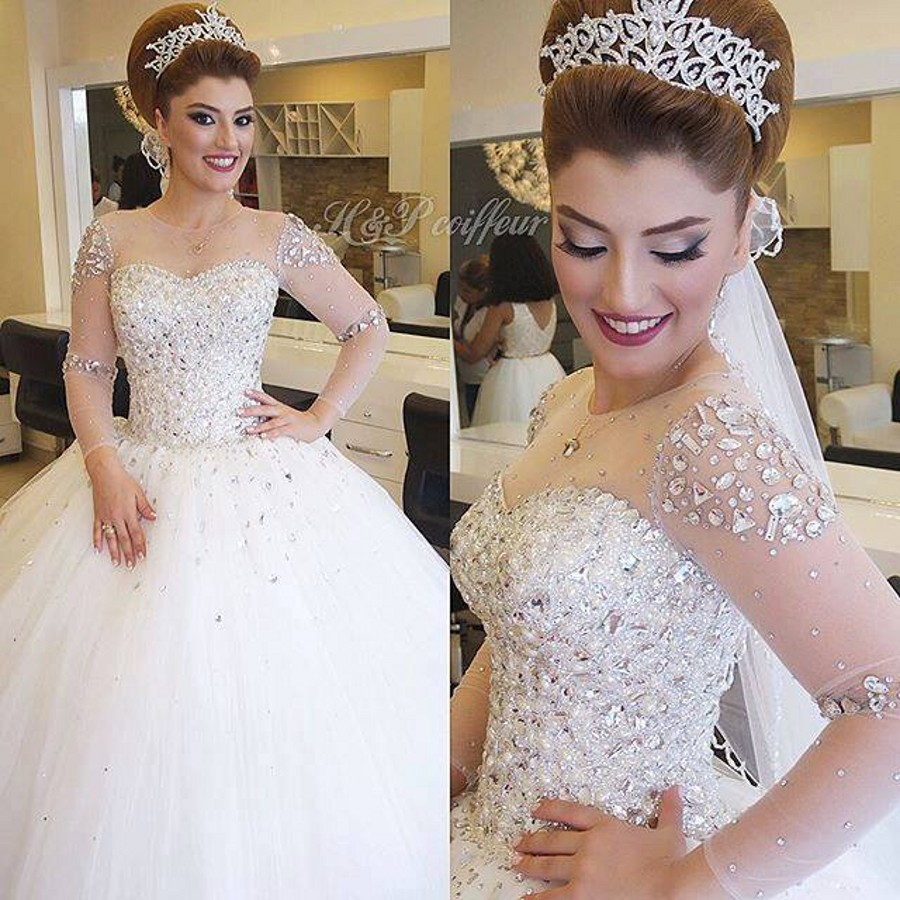 Robe Mariage Luxury Long Sleeve Crystal Beading Pearls Ball Gown Sparkling Wedding Dress In Dresses From Weddings Events On Aliexpress