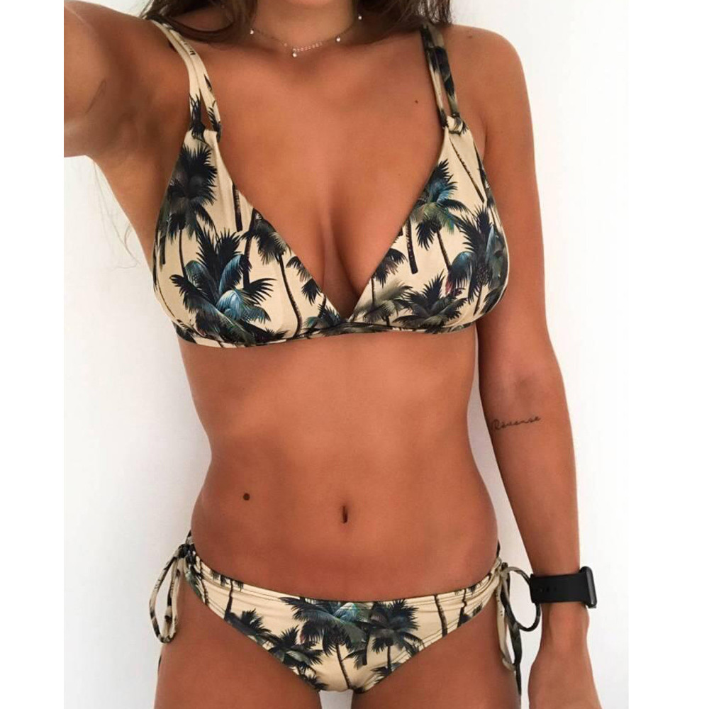 Womail 2018 Womens Retro Tropical Floral Swimwear Sexy Bandage Bikini Set Push Up Padded Swiming suit maio praia Swimsuit #N180