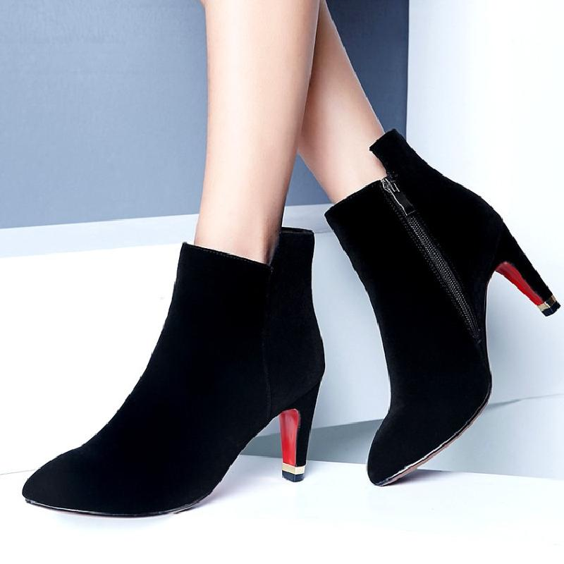 ankle boots for women winter boots women short boot female high heel sexy autumn 2017 suede booties red wedding shoes &N8-45 women ankle boots 2016 round toe autumn shoes booties lace up black and white ladies short 2017 flat fashion female new chinese