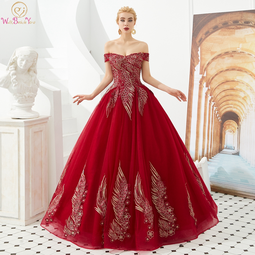 Wine Red Prom Dresses 2020 Green Ball Gown Tulle Gold Lace Applique Off Shoulder Sweetheart Long Floor Length Evening Gown Stock