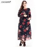 2018 news black Chiffon printing long dress plus size floral maxi beach dress vintage casual dress with Sashes big women dress
