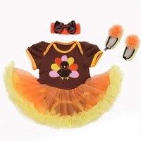 Baby meisje tutu dress infant thanksgiving kalkoen party outfit sets kerst kant romper body bebe algemene pasgeborenen babykleding