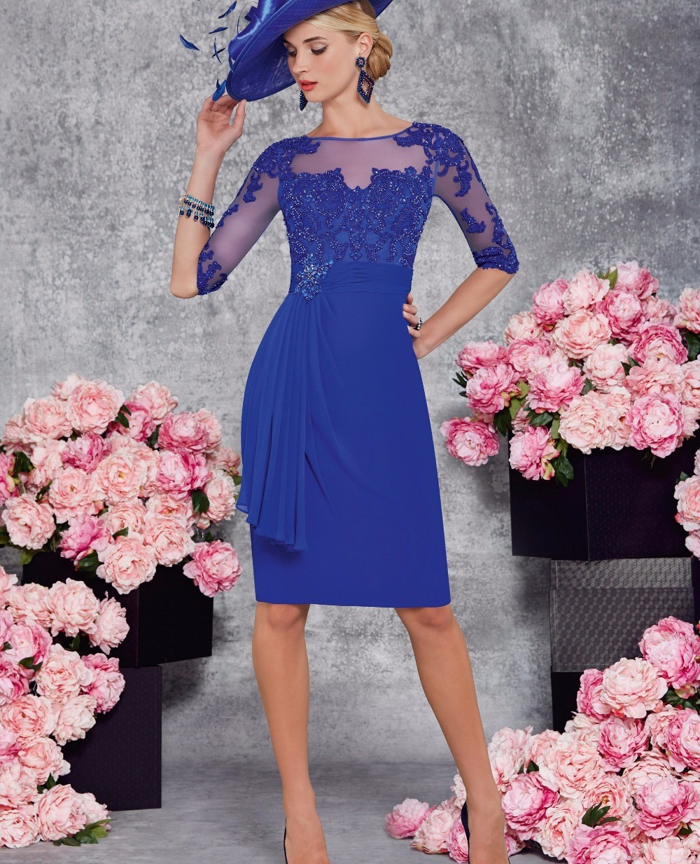 Popular Sapphire Blue Cocktail Dress-Buy Cheap Sapphire Blue ...