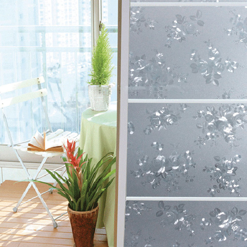 sunscreen peony pattern opaque glass film static cling window film privacy frosted window film. Black Bedroom Furniture Sets. Home Design Ideas
