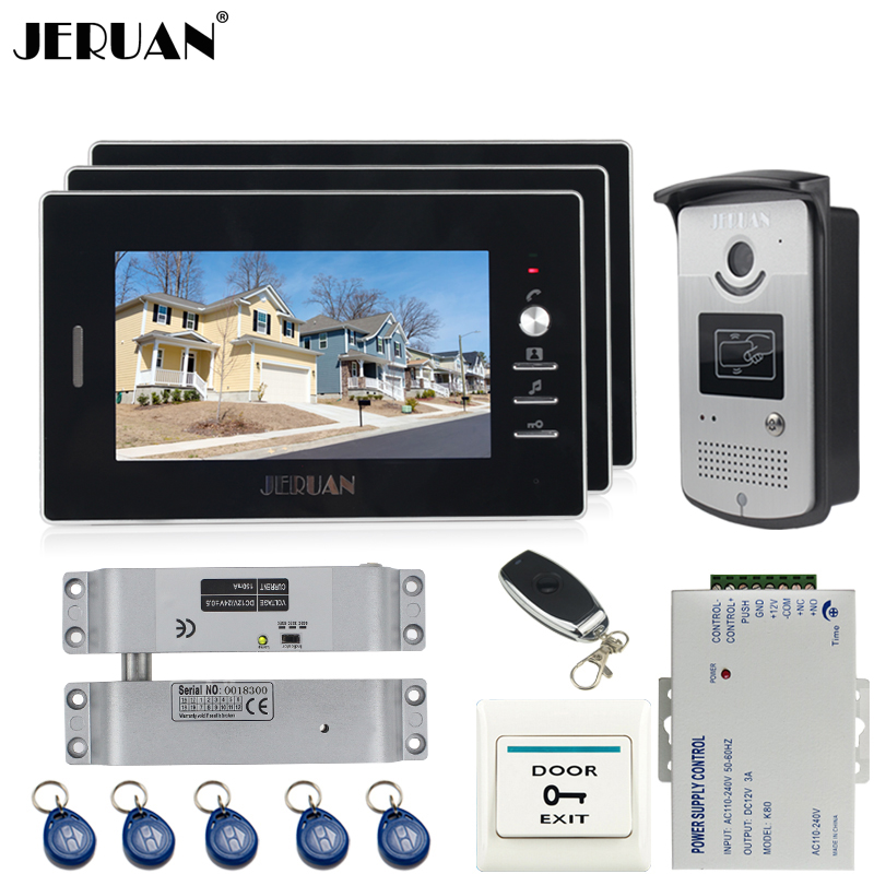 JERUAN Wired 7`` TFT video door phone Entry intercom system kit 700TVL RFID Access IR Night Vision Camera In stock + EXIT button