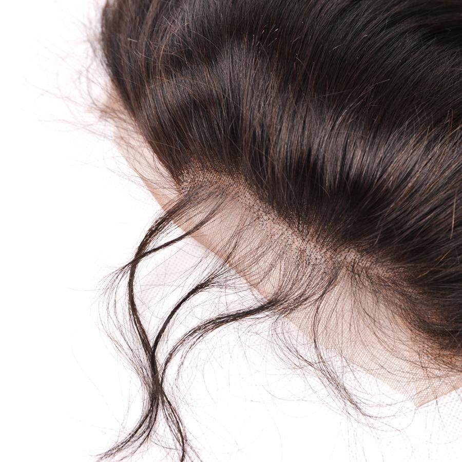 Mslynn Para këputur 360 Dantel Mbyllja frontale me flokë për - Flokët e njeriut (të zeza) - Foto 6