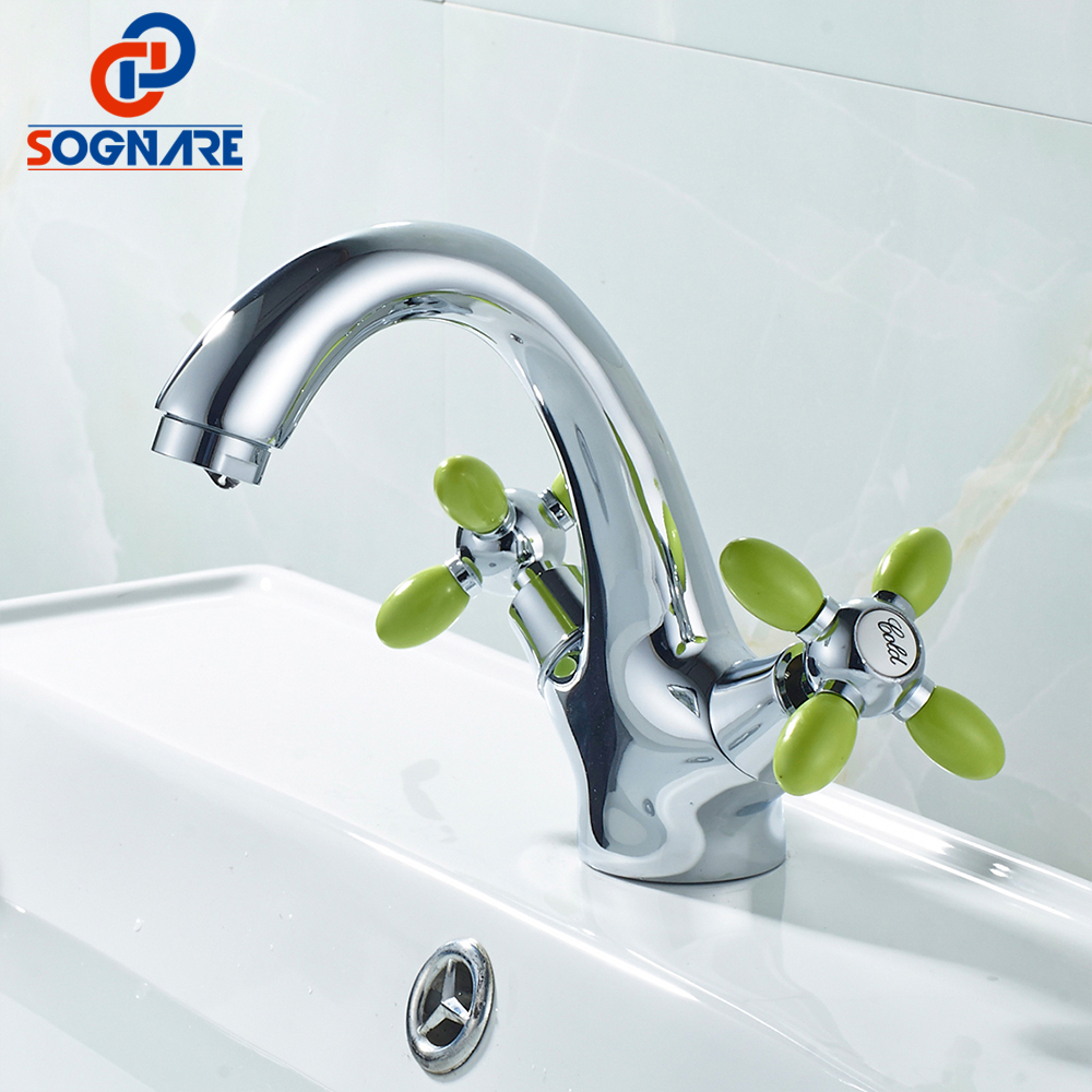 SOGNARE Silver Double Handle Basin Faucet Mixer Single Hole Cold and ...